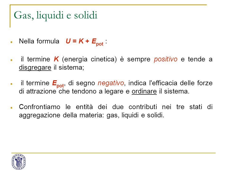 Gas, liquidi e solidi Nella formula U = K + Epot :