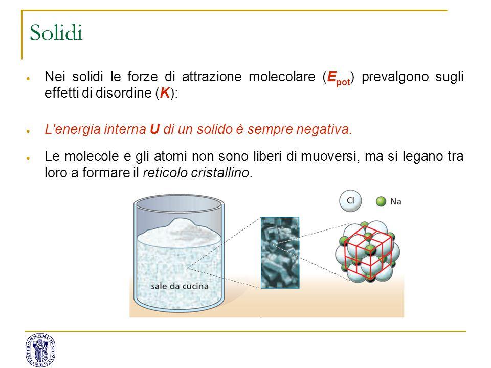 Solidi Nei solidi le forze di attrazione molecolare (Epot) prevalgono sugli effetti di disordine (K):