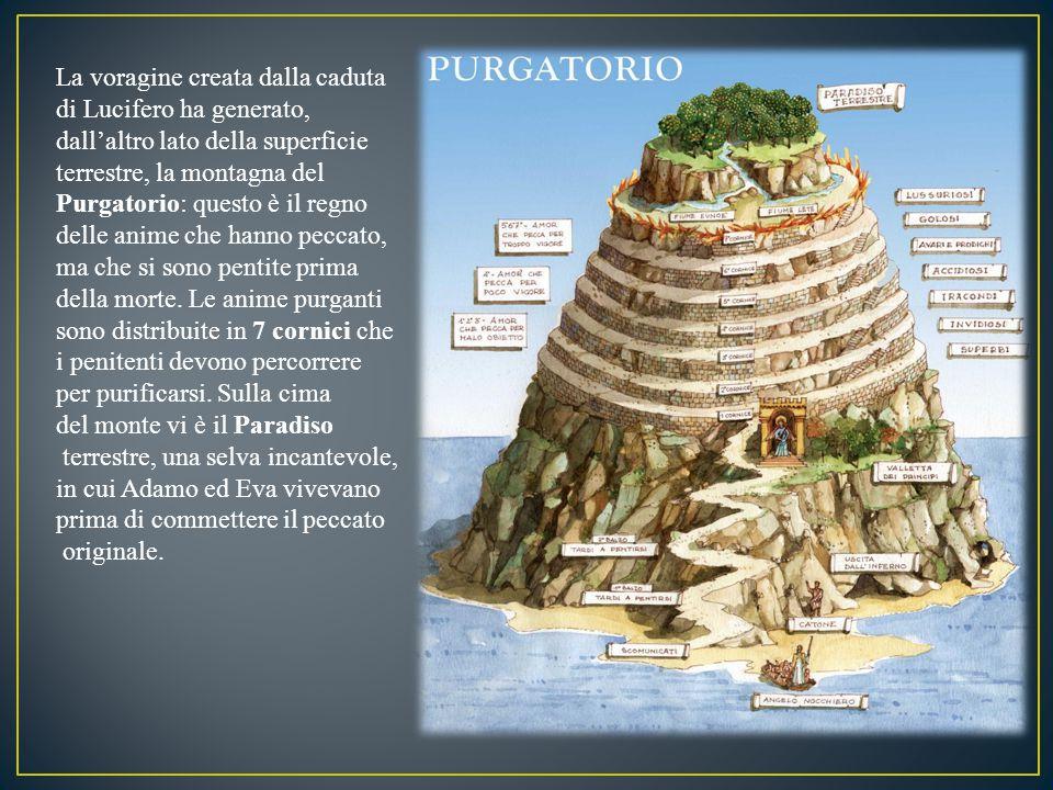 La voragine creata dalla caduta di Lucifero ha generato, dall'altro lato della superficie terrestre, la montagna del Purgatorio: questo è il regno