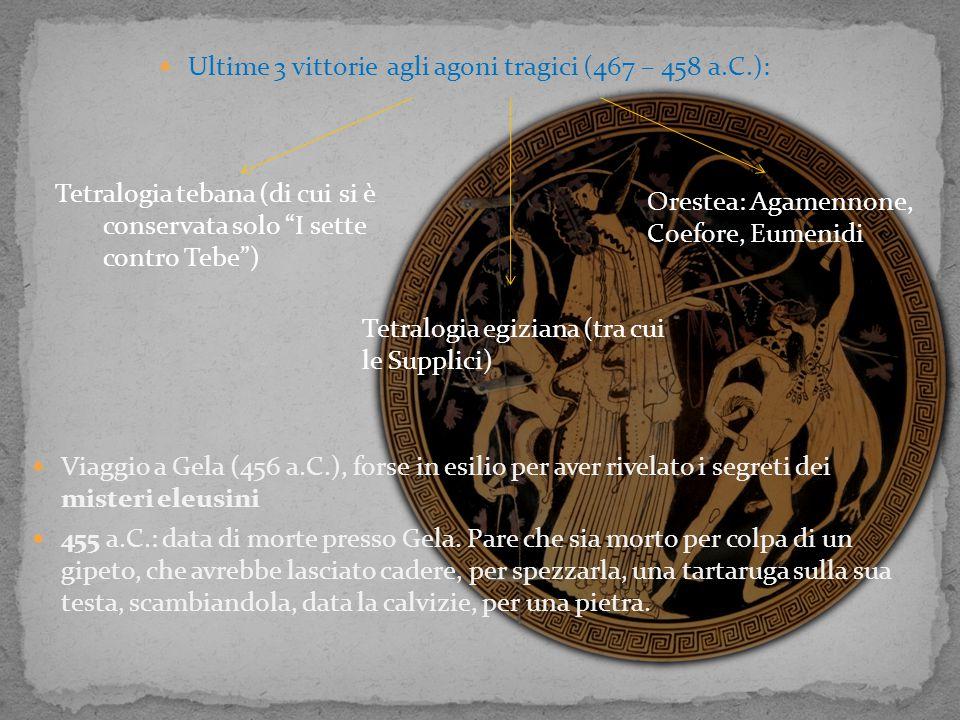 Ultime 3 vittorie agli agoni tragici (467 – 458 a.C.):