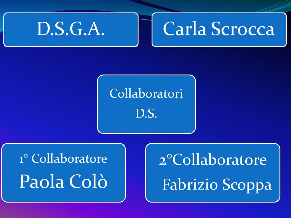 D.S.G.A. Carla Scrocca Paola Colò 2°Collaboratore Fabrizio Scoppa