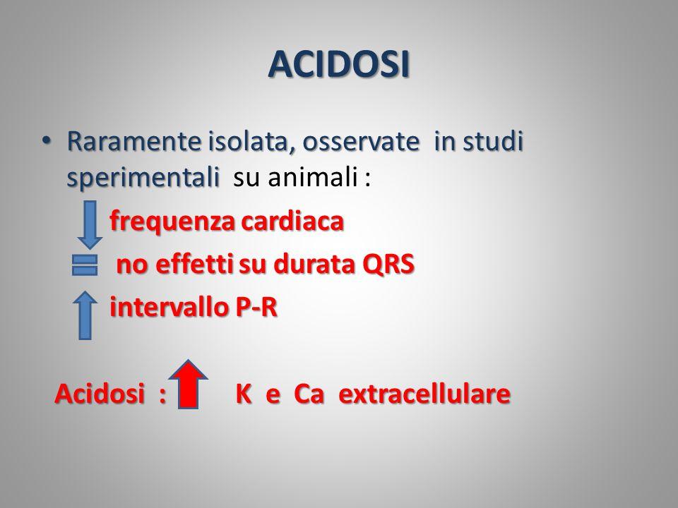 ACIDOSI Raramente isolata, osservate in studi sperimentali su animali : frequenza cardiaca. no effetti su durata QRS.
