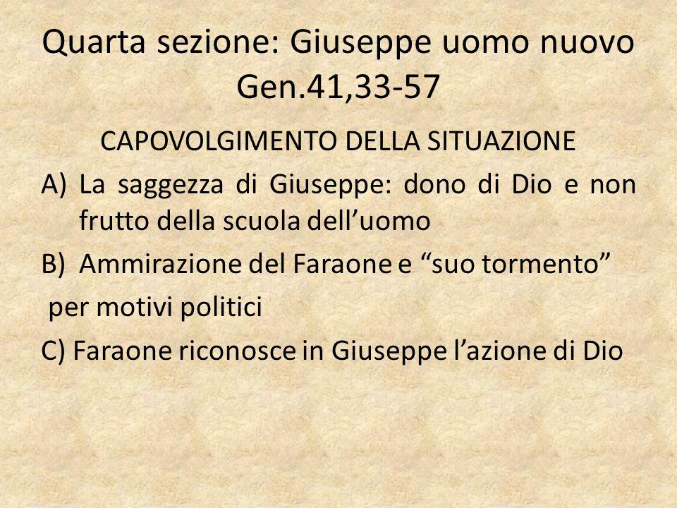Quarta sezione: Giuseppe uomo nuovo Gen.41,33-57