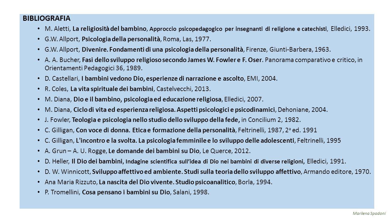 BIBLIOGRAFIA M. Aletti, La religiosità del bambino, Approccio psicopedagogico per insegnanti di religione e catechisti, Elledici, 1993.