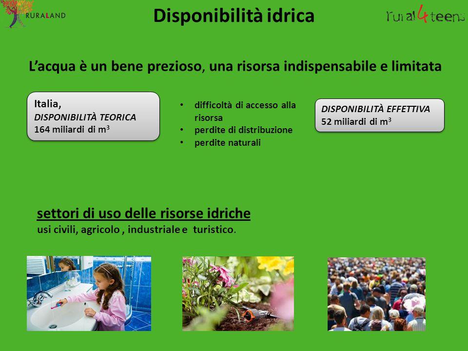 Disponibilità idrica L'acqua è un bene prezioso, una risorsa indispensabile e limitata. Italia, DISPONIBILITÀ TEORICA.