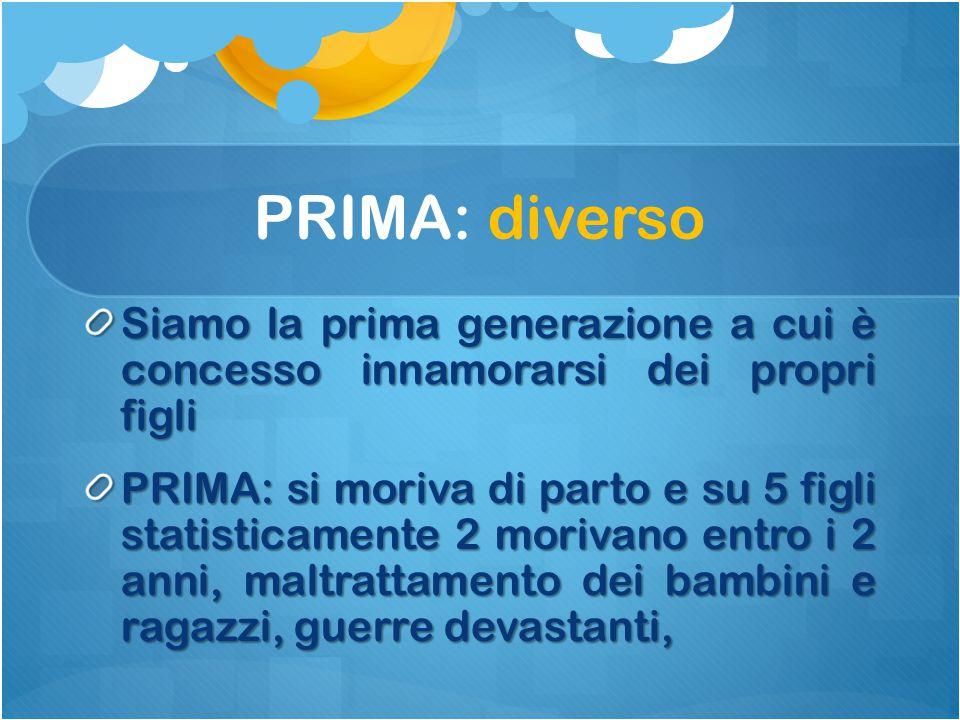 PRIMA: diverso Siamo la prima generazione a cui è concesso innamorarsi dei propri figli.