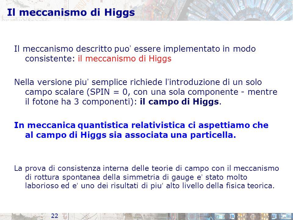 Il meccanismo di Higgs Il meccanismo descritto puo' essere implementato in modo consistente: il meccanismo di Higgs.