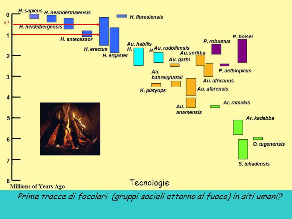 0,5 Tecnologie Prime tracce di focolari (gruppi sociali attorno al fuoco) in siti umani