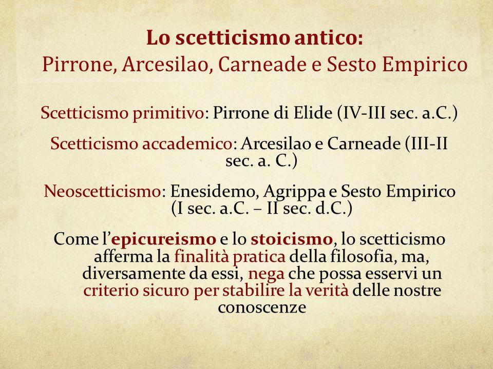 Lo scetticismo antico: Pirrone, Arcesilao, Carneade e Sesto Empirico