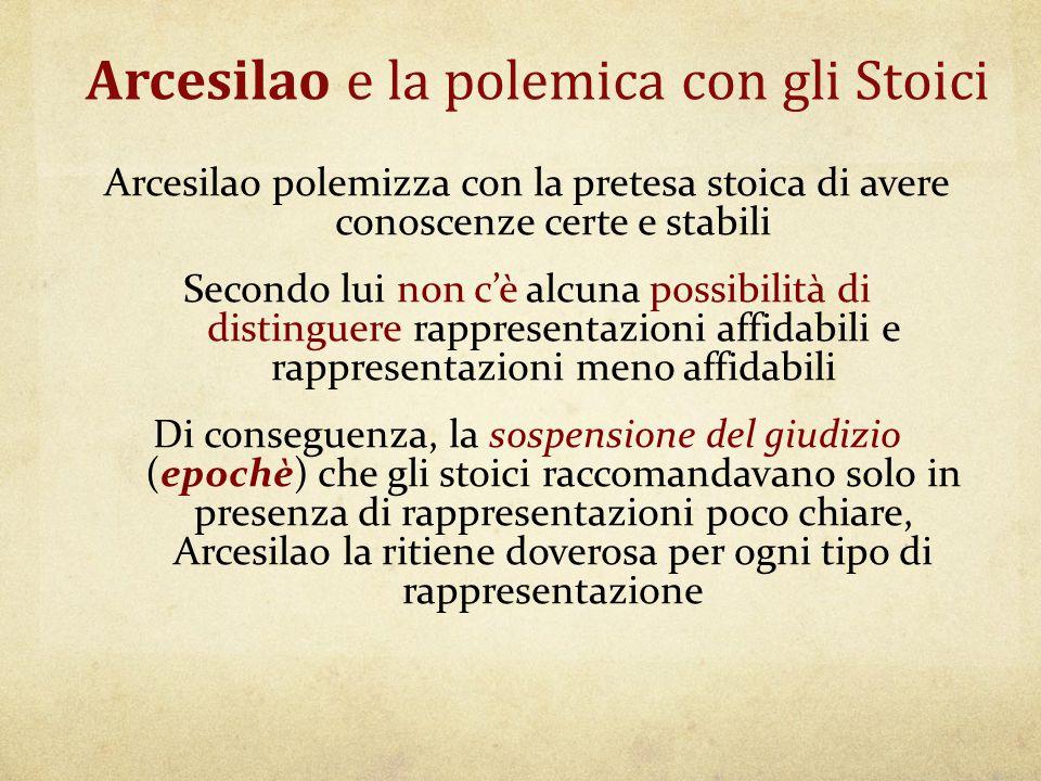 Arcesilao e la polemica con gli Stoici