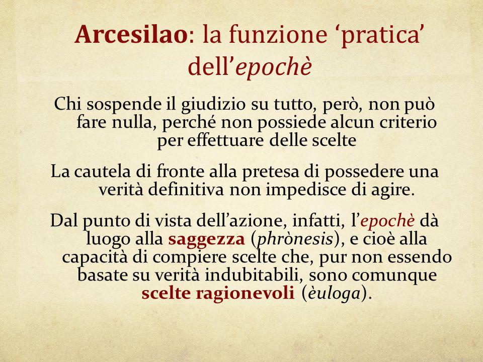 Arcesilao: la funzione 'pratica' dell'epochè