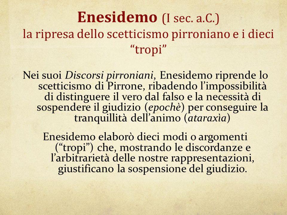 Enesidemo (I sec. a.C.) la ripresa dello scetticismo pirroniano e i dieci tropi