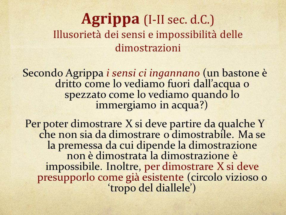 Agrippa (I-II sec. d.C.) Illusorietà dei sensi e impossibilità delle dimostrazioni