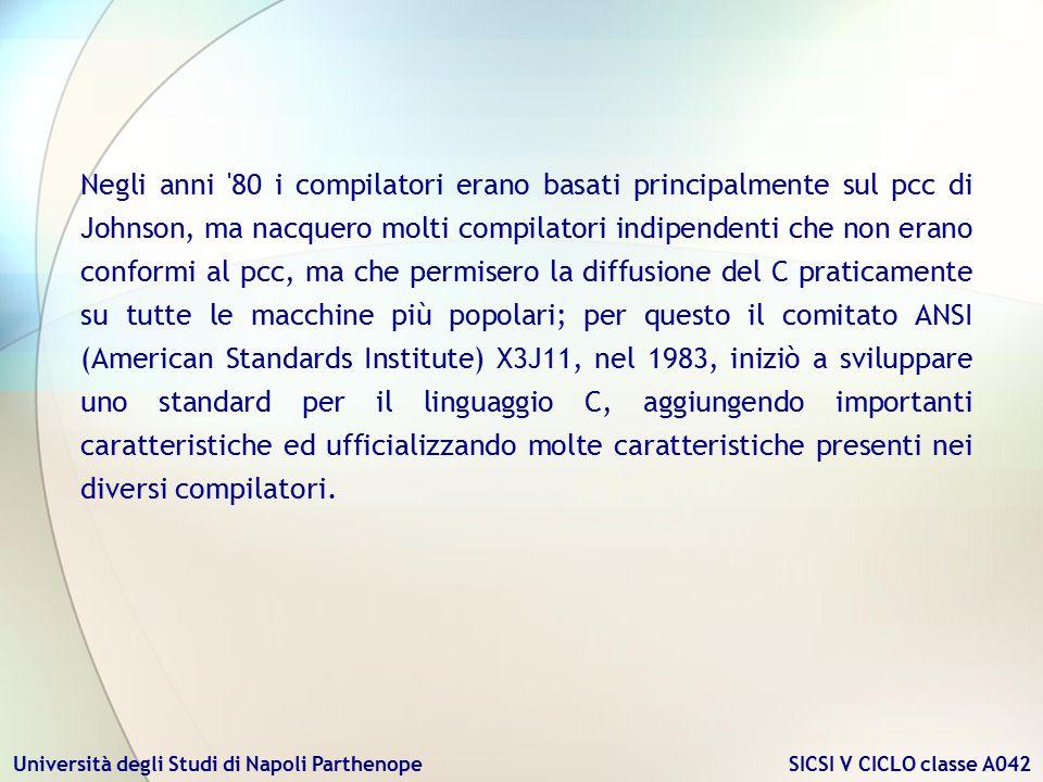 Negli anni 80 i compilatori erano basati principalmente sul pcc di Johnson, ma nacquero molti compilatori indipendenti che non erano conformi al pcc, ma che permisero la diffusione del C praticamente su tutte le macchine più popolari; per questo il comitato ANSI (American Standards Institute) X3J11, nel 1983, iniziò a sviluppare uno standard per il linguaggio C, aggiungendo importanti caratteristiche ed ufficializzando molte caratteristiche presenti nei diversi compilatori.