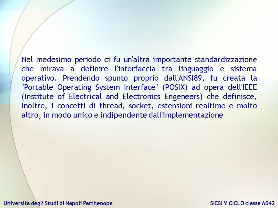 Nel medesimo periodo ci fu un altra importante standardizzazione che mirava a definire l interfaccia tra linguaggio e sistema operativo.