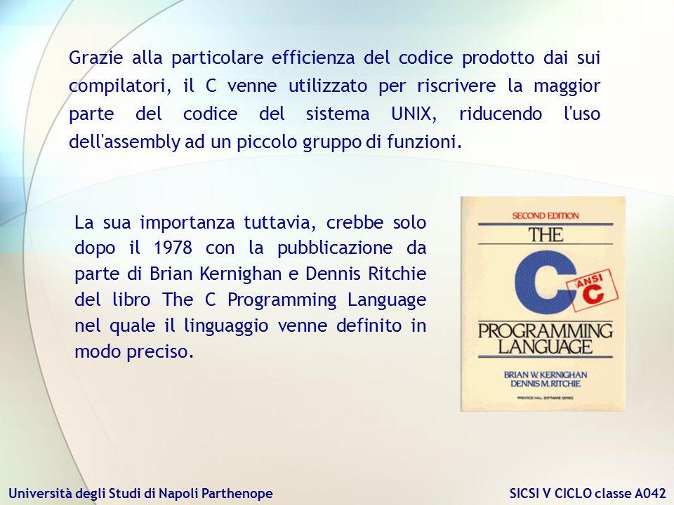 Grazie alla particolare efficienza del codice prodotto dai sui compilatori, il C venne utilizzato per riscrivere la maggior parte del codice del sistema UNIX, riducendo l uso dell assembly ad un piccolo gruppo di funzioni.