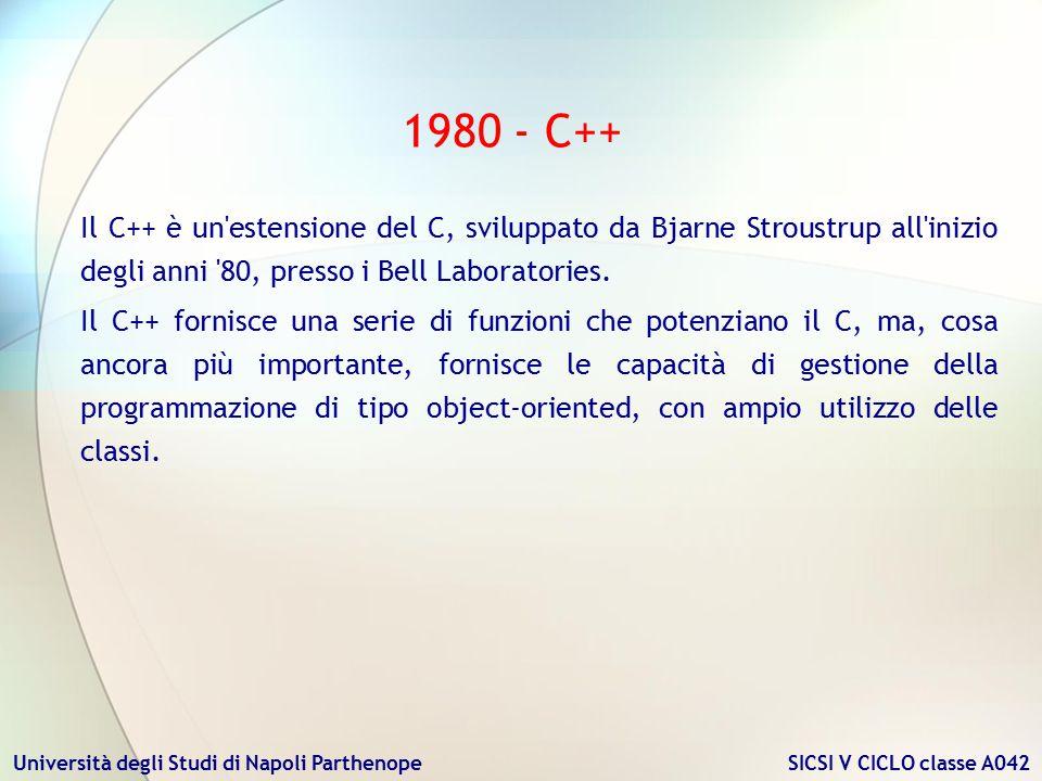 1980 - C++ Il C++ è un estensione del C, sviluppato da Bjarne Stroustrup all inizio degli anni 80, presso i Bell Laboratories.