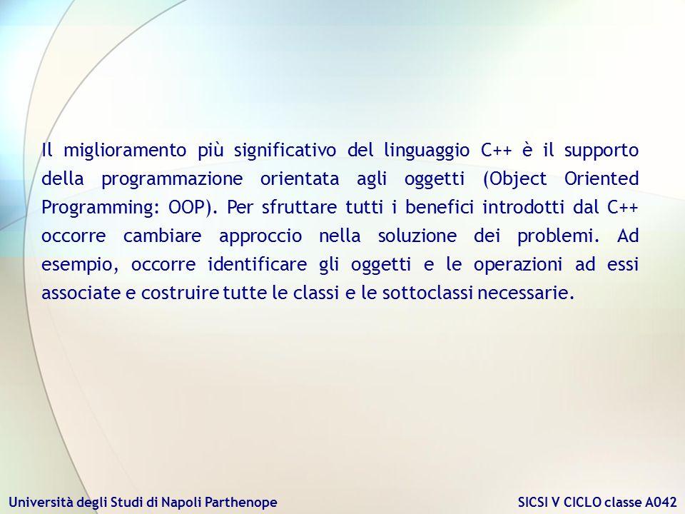 Il miglioramento più significativo del linguaggio C++ è il supporto della programmazione orientata agli oggetti (Object Oriented Programming: OOP).