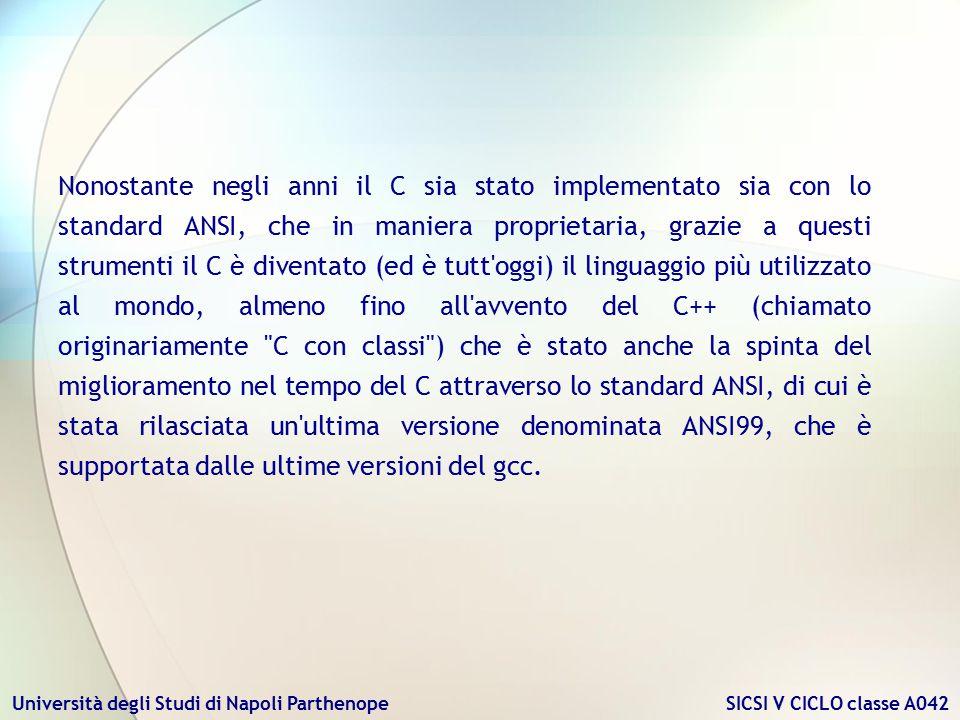 Nonostante negli anni il C sia stato implementato sia con lo standard ANSI, che in maniera proprietaria, grazie a questi strumenti il C è diventato (ed è tutt oggi) il linguaggio più utilizzato al mondo, almeno fino all avvento del C++ (chiamato originariamente C con classi ) che è stato anche la spinta del miglioramento nel tempo del C attraverso lo standard ANSI, di cui è stata rilasciata un ultima versione denominata ANSI99, che è supportata dalle ultime versioni del gcc.