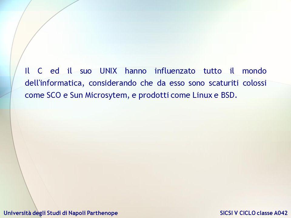 Il C ed il suo UNIX hanno influenzato tutto il mondo dell informatica, considerando che da esso sono scaturiti colossi come SCO e Sun Microsytem, e prodotti come Linux e BSD.