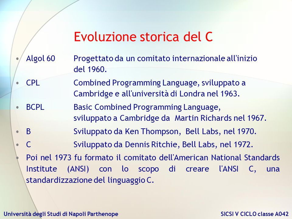 Evoluzione storica del C