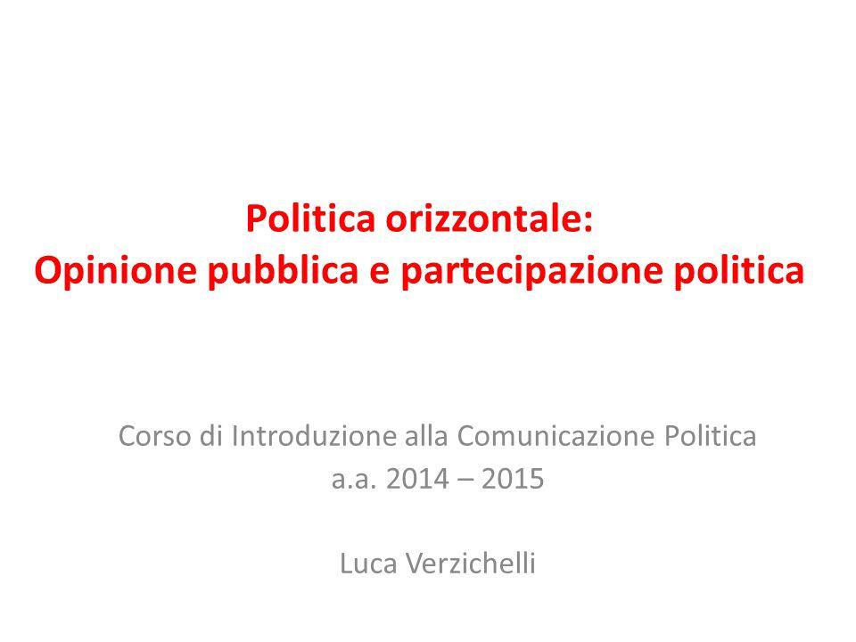 Politica orizzontale: Opinione pubblica e partecipazione politica
