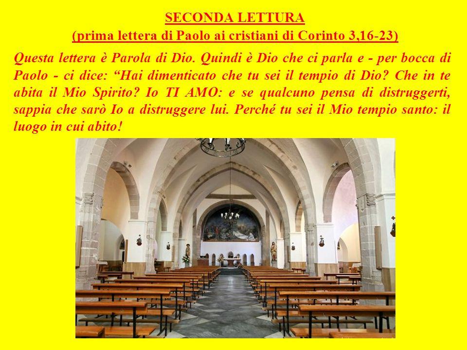 SECONDA LETTURA (prima lettera di Paolo ai cristiani di Corinto 3,16-23)