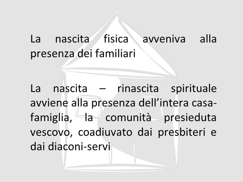 La nascita fisica avveniva alla presenza dei familiari La nascita – rinascita spirituale avviene alla presenza dell'intera casa-famiglia, la comunità presieduta vescovo, coadiuvato dai presbiteri e dai diaconi-servi