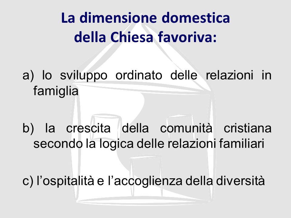 La dimensione domestica della Chiesa favoriva: