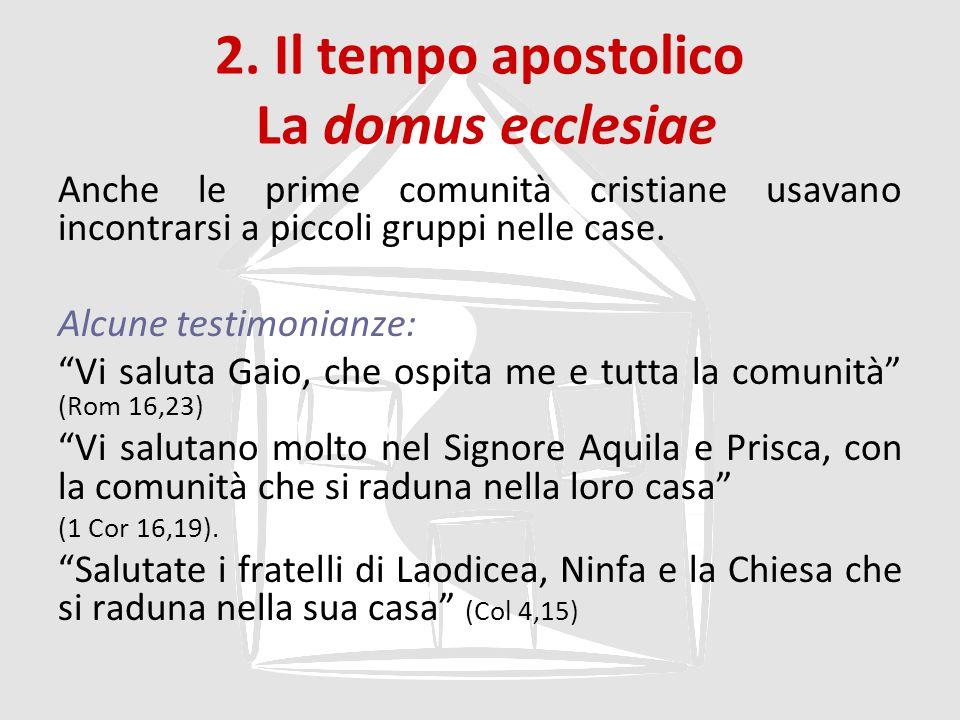 2. Il tempo apostolico La domus ecclesiae