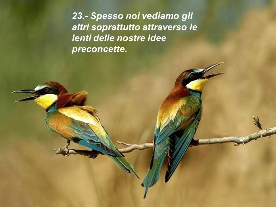 23.- Spesso noi vediamo gli altri soprattutto attraverso le lenti delle nostre idee preconcette.
