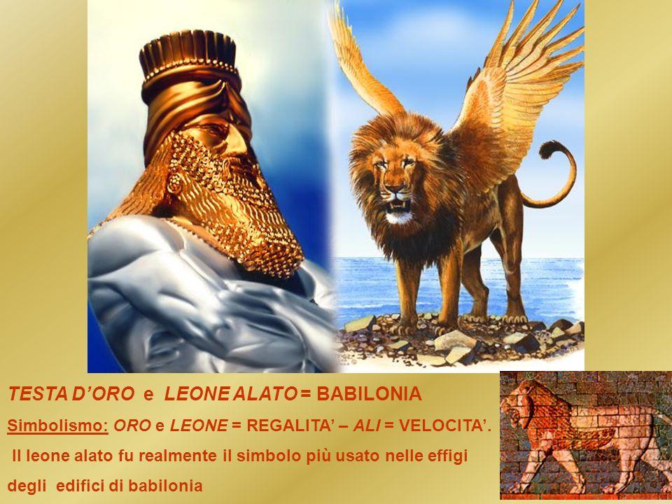 TESTA D'ORO e LEONE ALATO = BABILONIA