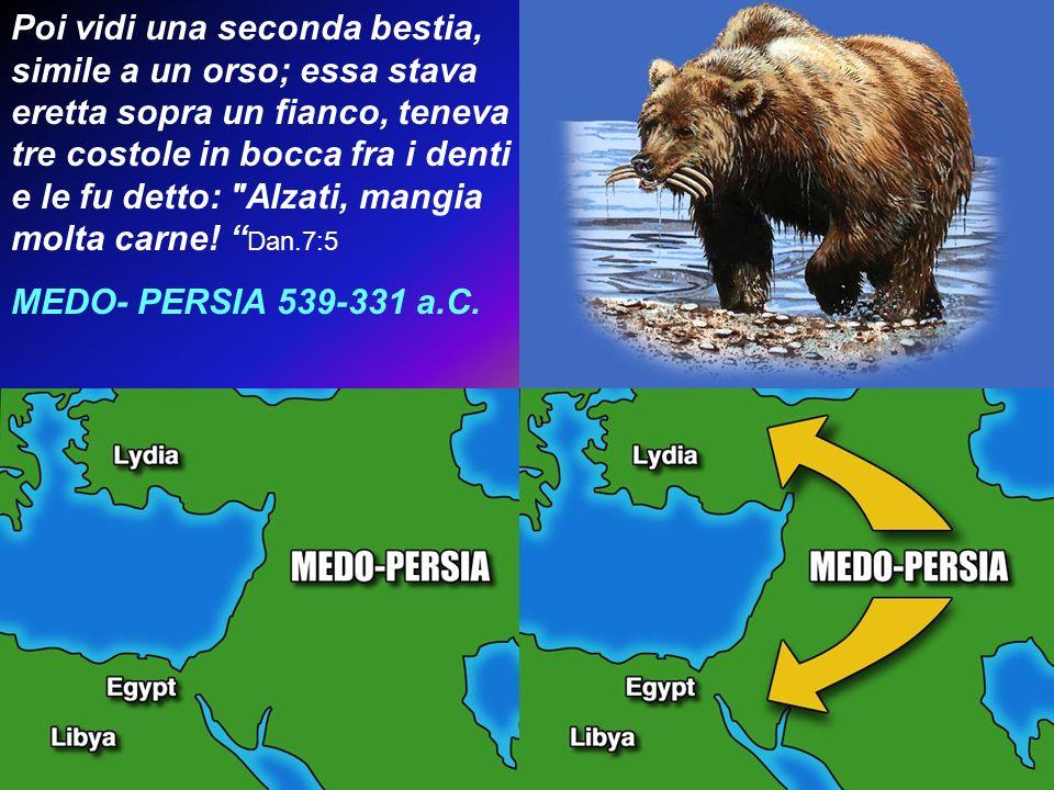 Poi vidi una seconda bestia, simile a un orso; essa stava eretta sopra un fianco, teneva tre costole in bocca fra i denti e le fu detto: Alzati, mangia molta carne! Dan.7:5