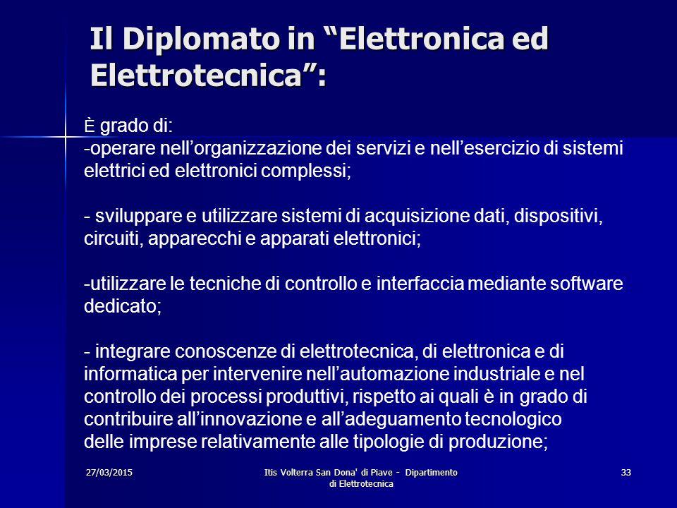 Il Diplomato in Elettronica ed Elettrotecnica :
