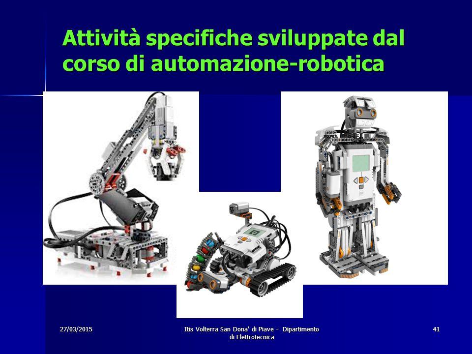 Attività specifiche sviluppate dal corso di automazione-robotica