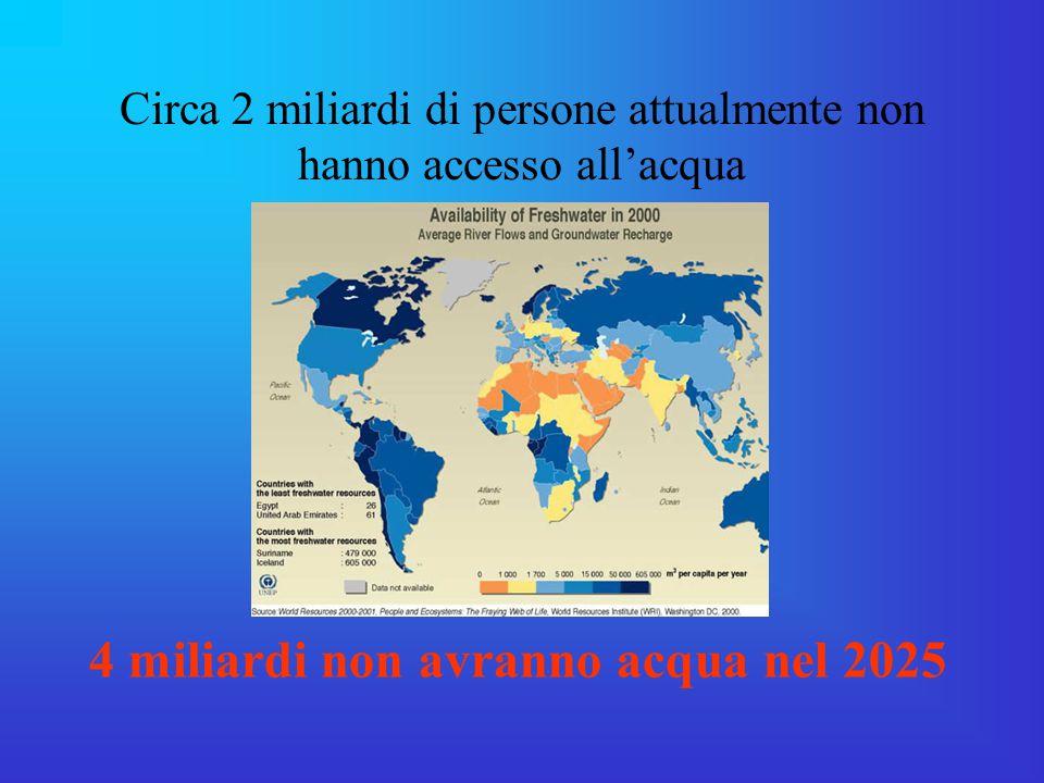 Circa 2 miliardi di persone attualmente non hanno accesso all'acqua