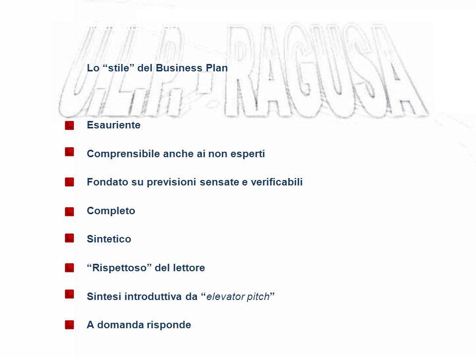 Obiettivi del corso Lo stile del Business Plan Esauriente