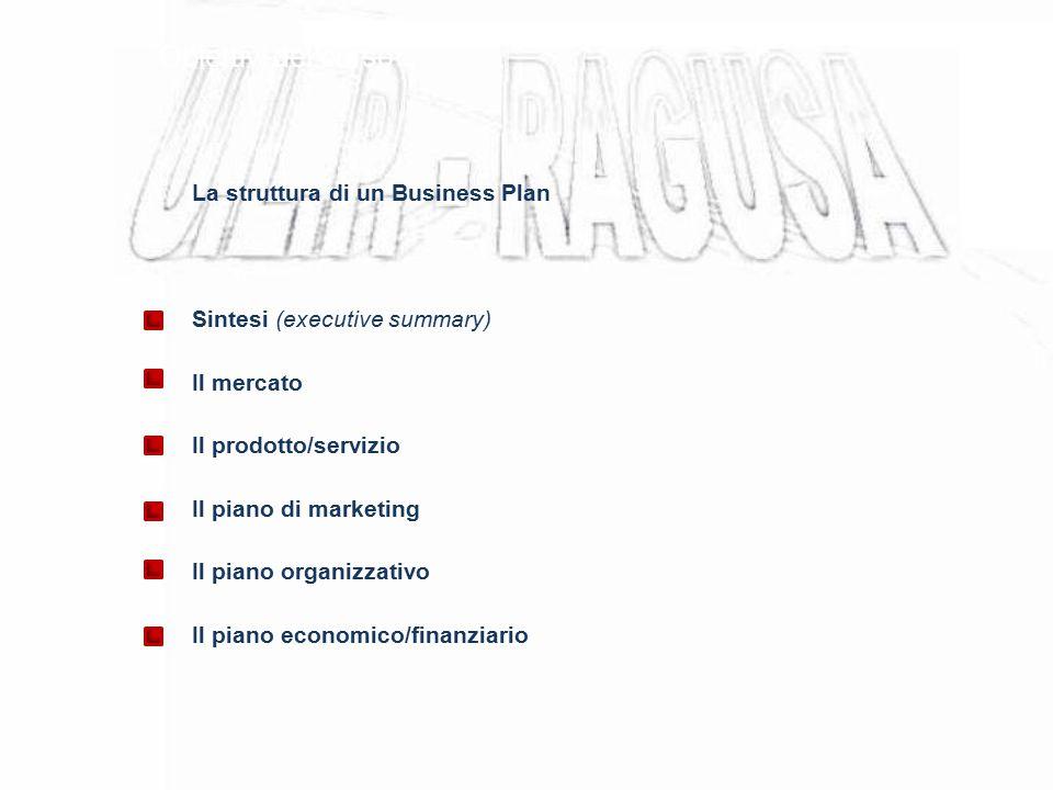 Obiettivi del corso La struttura di un Business Plan