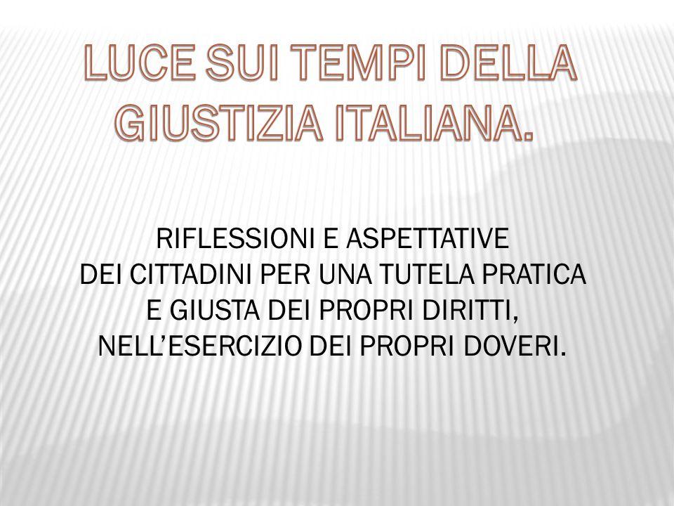 LUCE SUI TEMPI DELLA GIUSTIZIA ITALIANA.