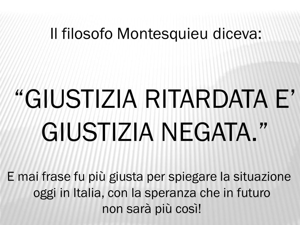 GIUSTIZIA RITARDATA E' GIUSTIZIA NEGATA.