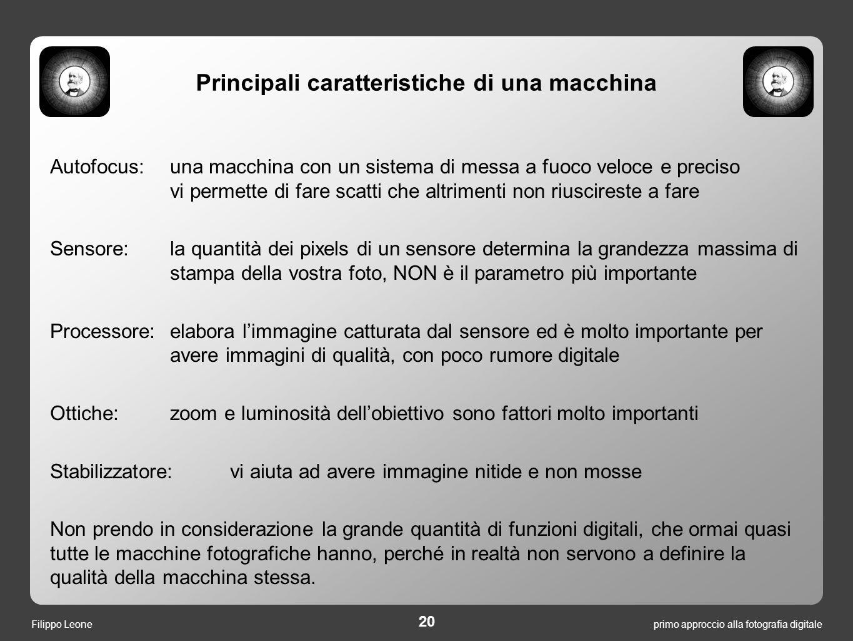 Principali caratteristiche di una macchina