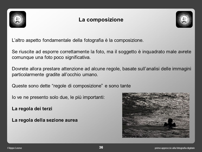 La composizione L'altro aspetto fondamentale della fotografia è la composizione.