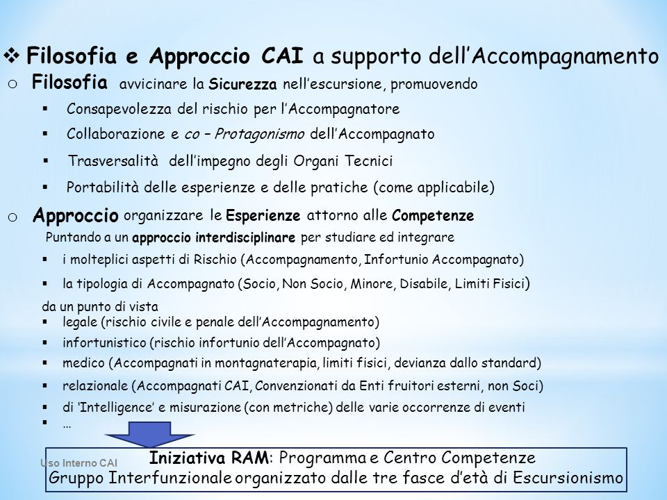 Filosofia e Approccio CAI a supporto dell'Accompagnamento