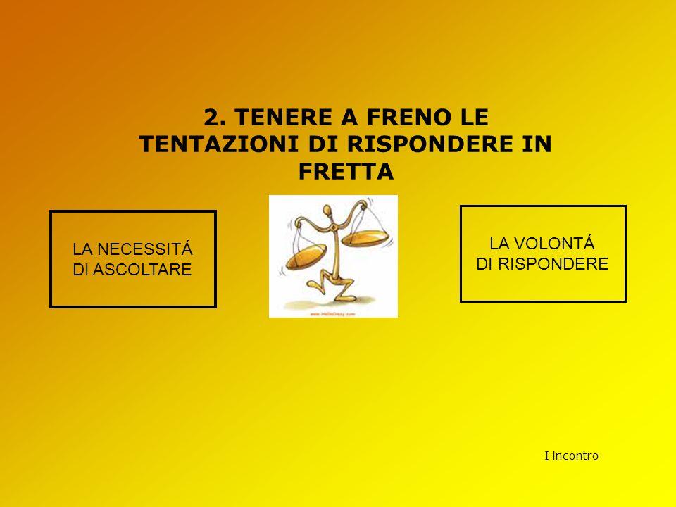 2. TENERE A FRENO LE TENTAZIONI DI RISPONDERE IN FRETTA