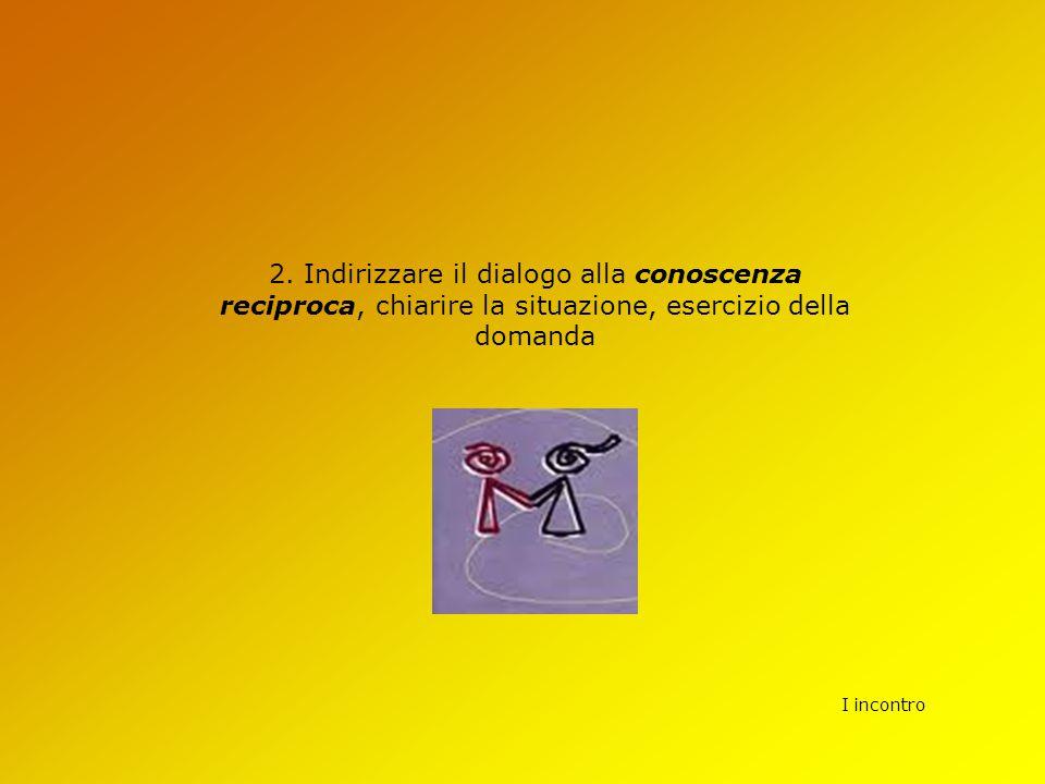 2. Indirizzare il dialogo alla conoscenza reciproca, chiarire la situazione, esercizio della domanda