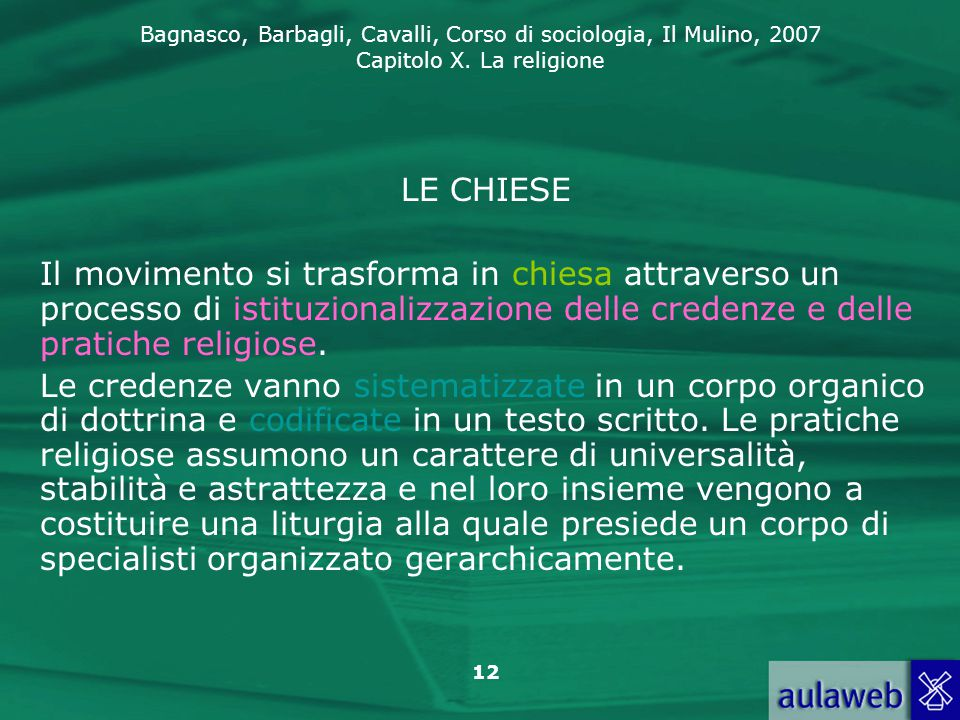 LE CHIESE Il movimento si trasforma in chiesa attraverso un processo di istituzionalizzazione delle credenze e delle pratiche religiose.