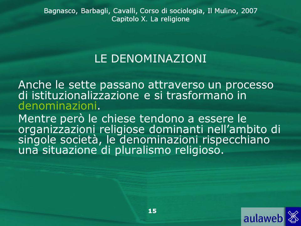 LE DENOMINAZIONI Anche le sette passano attraverso un processo di istituzionalizzazione e si trasformano in denominazioni.
