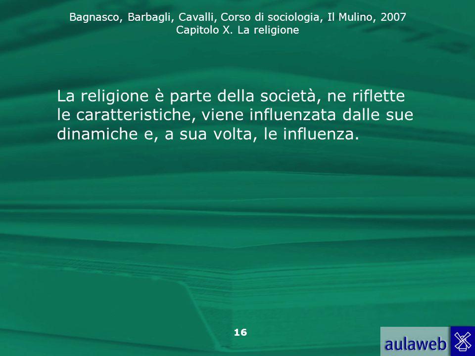 La religione è parte della società, ne riflette le caratteristiche, viene influenzata dalle sue dinamiche e, a sua volta, le influenza.