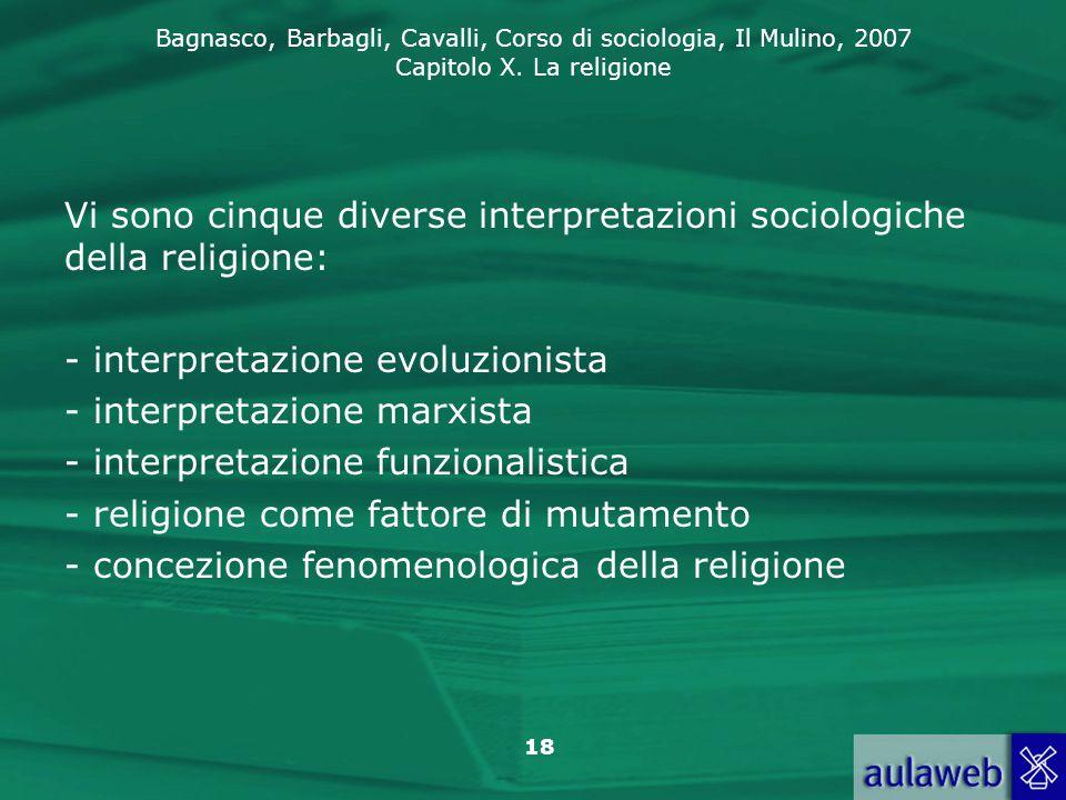 Vi sono cinque diverse interpretazioni sociologiche della religione: