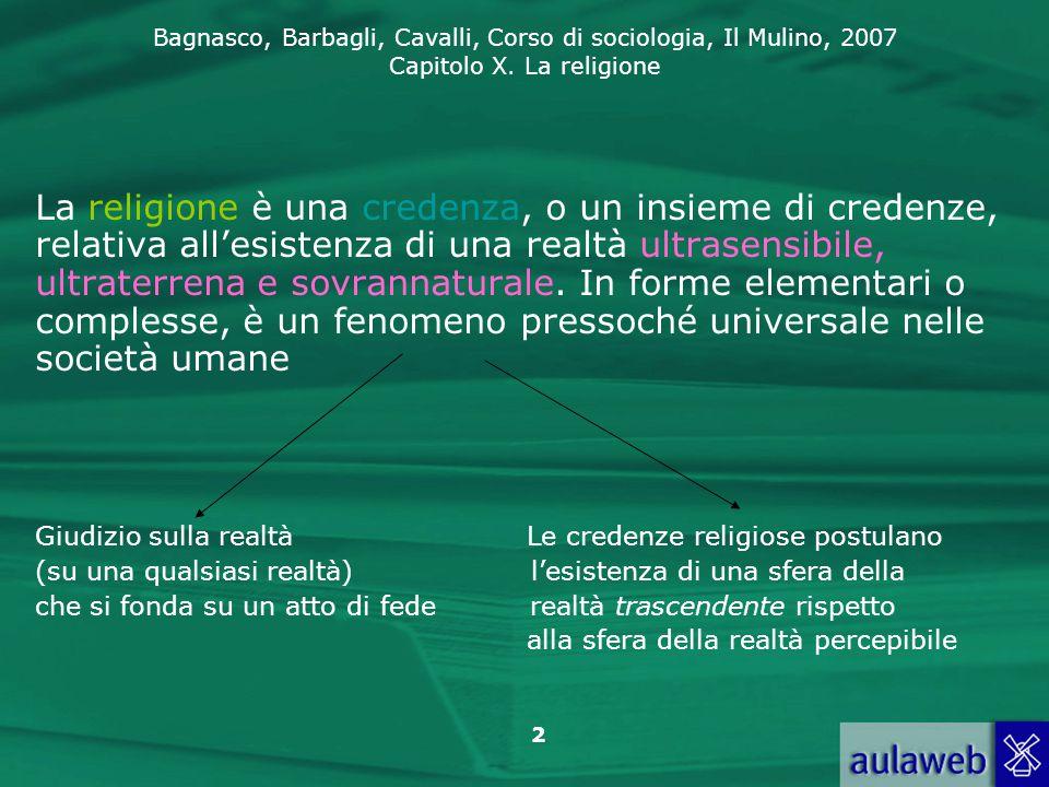 La religione è una credenza, o un insieme di credenze, relativa all'esistenza di una realtà ultrasensibile, ultraterrena e sovrannaturale. In forme elementari o complesse, è un fenomeno pressoché universale nelle società umane
